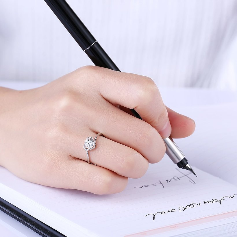 Wholesale Fashion Resizable 925 Sterling Silver Heart Ring for  Woman Girl Party Wedding Gift Simple White AAA Zircon rings TGSLR198 0