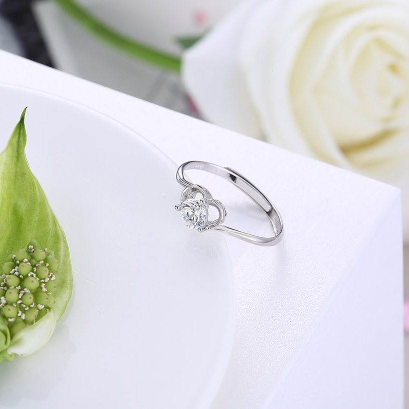 Wholesale Fashion Resizable 925 Sterling Silver Heart Ring for  Woman Girl Party Wedding Gift Simple White AAA Zircon rings TGSLR198 2