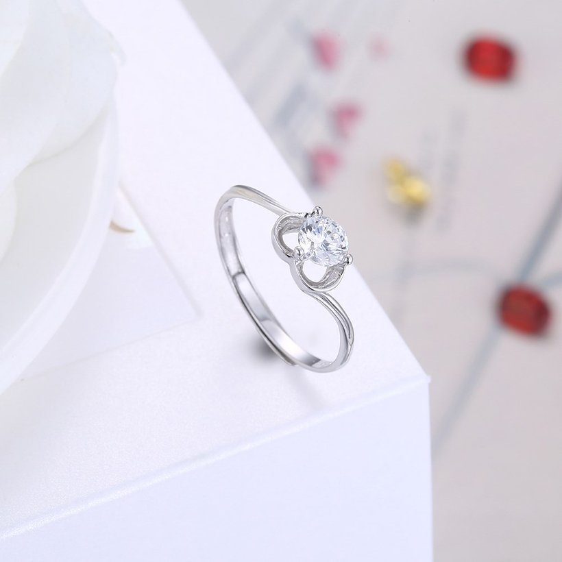 Wholesale Fashion Resizable 925 Sterling Silver Heart Ring for  Woman Girl Party Wedding Gift Simple White AAA Zircon rings TGSLR198 3