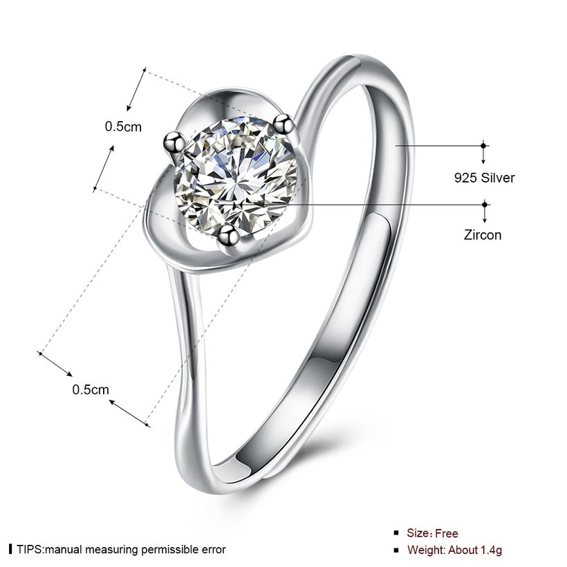 Wholesale Fashion Resizable 925 Sterling Silver Heart Ring for  Woman Girl Party Wedding Gift Simple White AAA Zircon rings TGSLR198 4