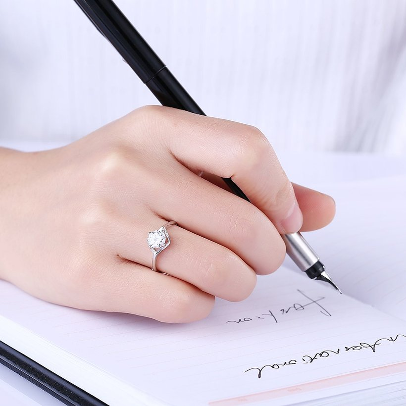 Wholesale Romantic Resizable 925 Sterling Silver Ring OL style Woman Party Wedding Gift Simple White AAA Zircon Ring  TGSLR203 0