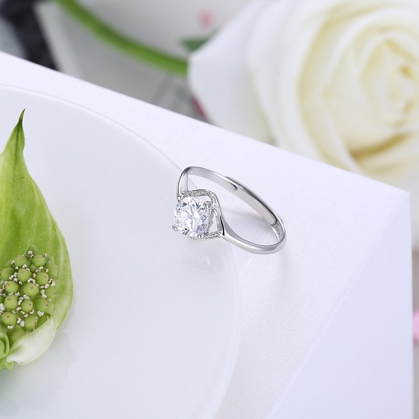 Wholesale Romantic Resizable 925 Sterling Silver Ring OL style Woman Party Wedding Gift Simple White AAA Zircon Ring  TGSLR203 2
