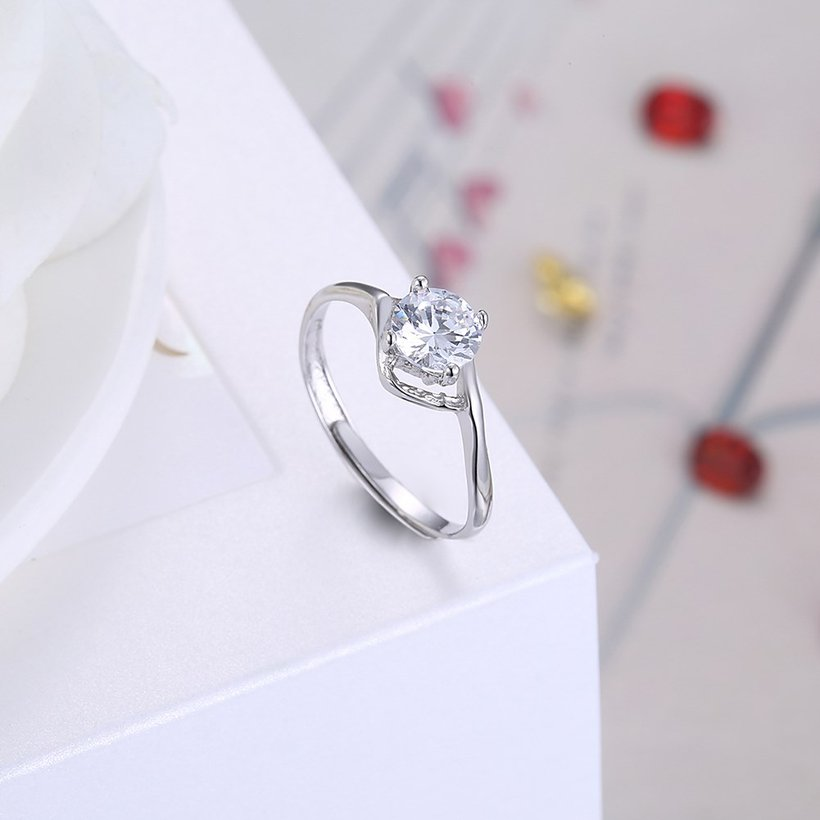 Wholesale Romantic Resizable 925 Sterling Silver Ring OL style Woman Party Wedding Gift Simple White AAA Zircon Ring  TGSLR203 3