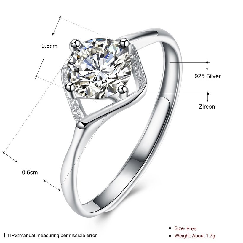 Wholesale Romantic Resizable 925 Sterling Silver Ring OL style Woman Party Wedding Gift Simple White AAA Zircon Ring  TGSLR203 4