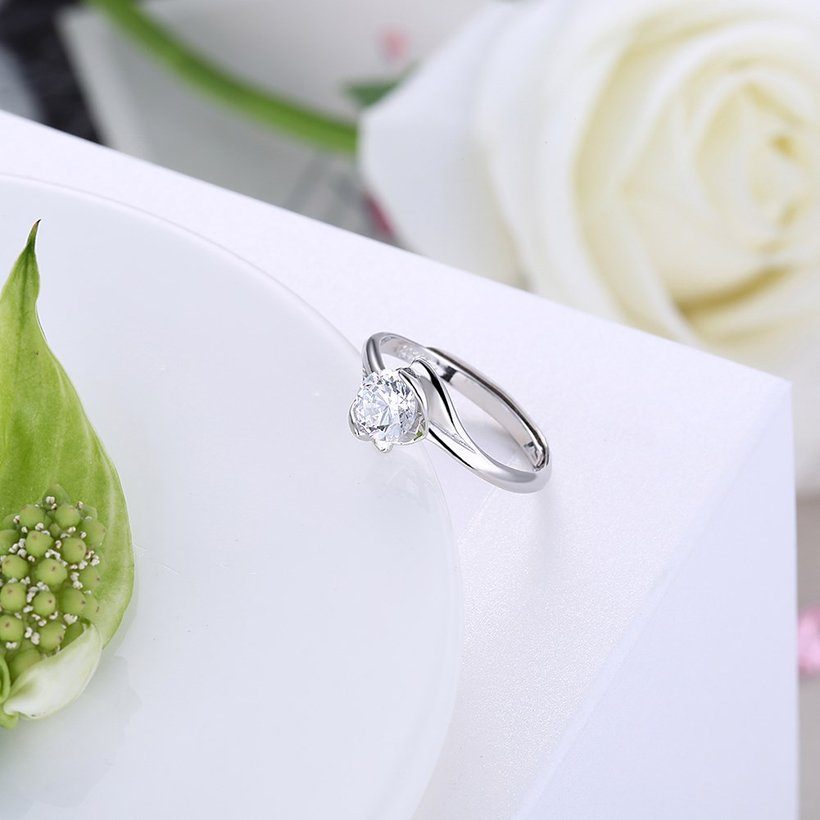 Wholesale Personality Fashion jewelry OL Woman Girl Party Wedding Gift Simple White AAA Zircon S925 Sterling Silver Ring TGSLR206 2
