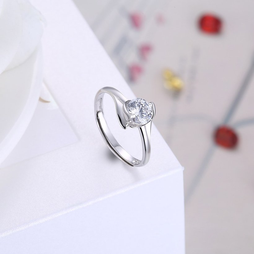 Wholesale Personality Fashion jewelry OL Woman Girl Party Wedding Gift Simple White AAA Zircon S925 Sterling Silver Ring TGSLR206 3