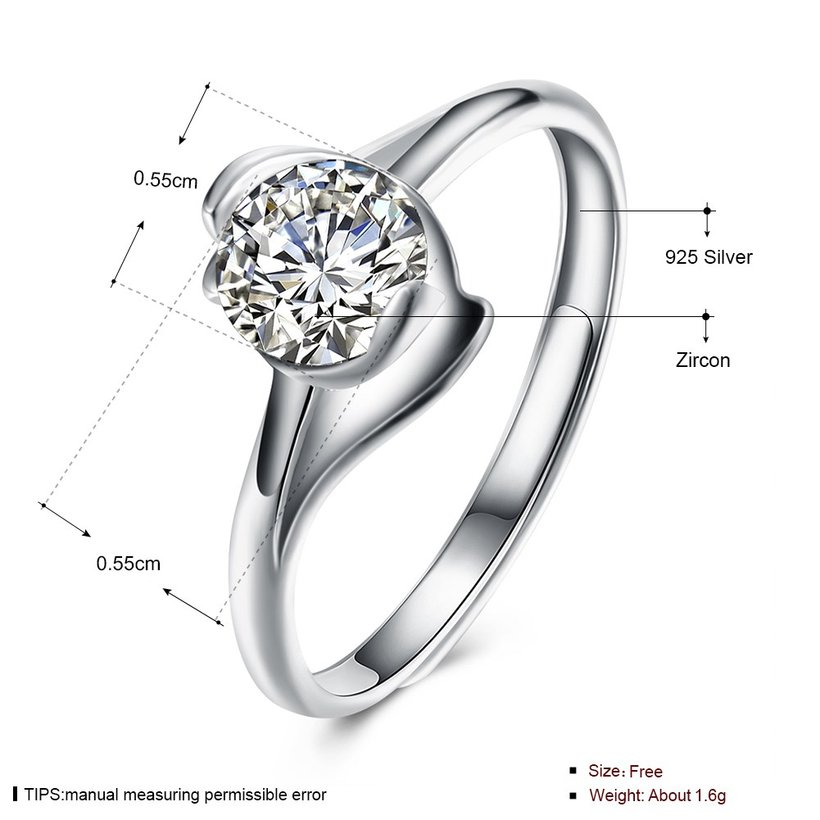 Wholesale Personality Fashion jewelry OL Woman Girl Party Wedding Gift Simple White AAA Zircon S925 Sterling Silver Ring TGSLR206 4