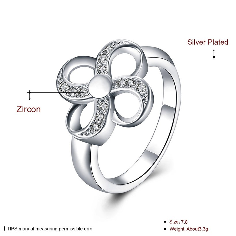 Wholesale Hot selling Ladies Ring four leaf Flower Crystal zircon Ring For Women Fashion Glamour Engagement Ring Jewelry Accessories TGSPR522 0