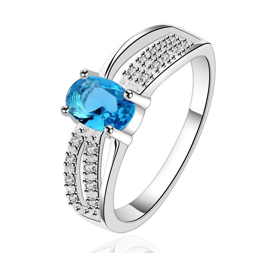 Wholesale Romantic luxury classic Silver Plated Oval blue Zircon Ring for Women Wedding Ring jewelry SPR570 0