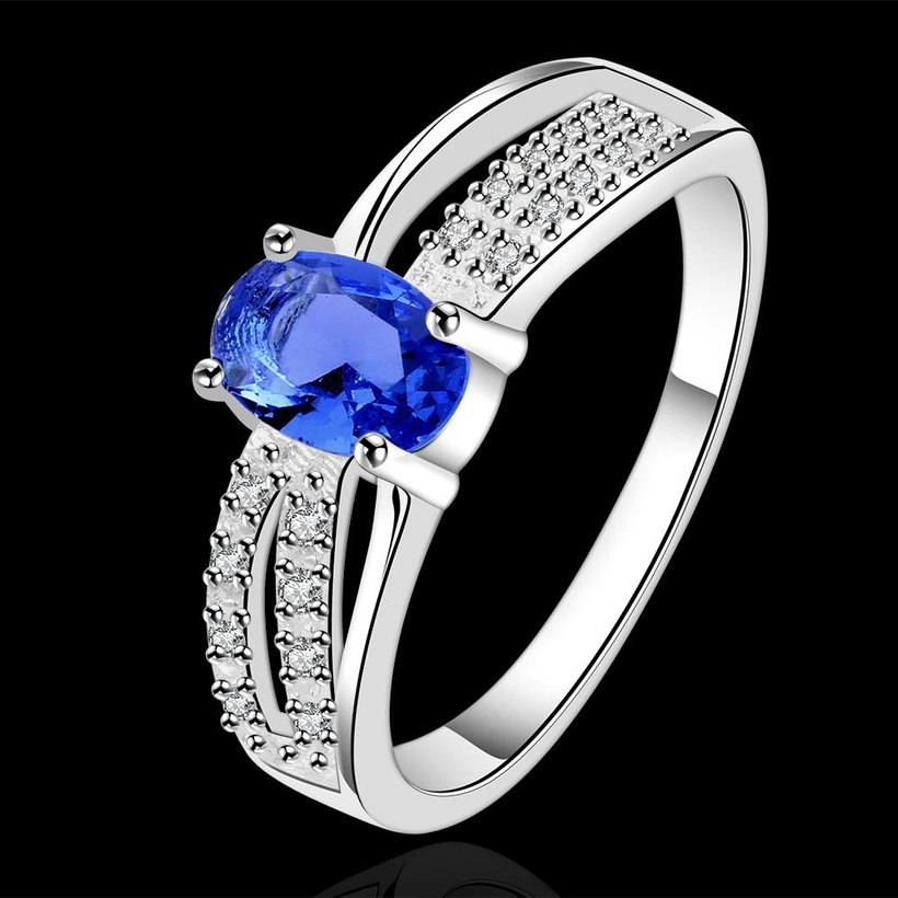 Wholesale Romantic luxury classic Silver Plated Oval blue Zircon Ring for Women Wedding Ring jewelry SPR570 1