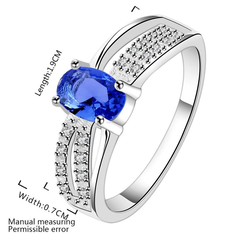 Wholesale Romantic luxury classic Silver Plated Oval blue Zircon Ring for Women Wedding Ring jewelry SPR570 2