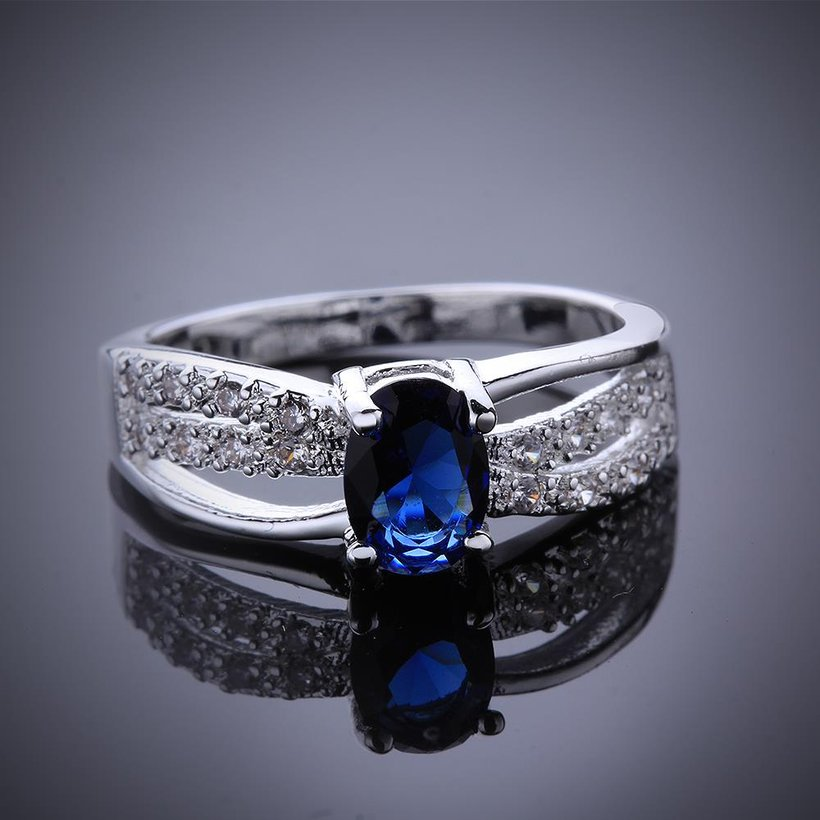 Wholesale Romantic luxury classic Silver Plated Oval blue Zircon Ring for Women Wedding Ring jewelry SPR570 3