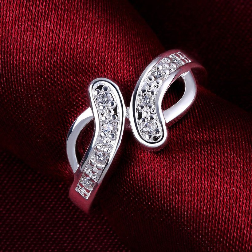 Wholesale New Creative Trendy Silver Plated Hot Sell Zircon Ring for Women SPR575 1
