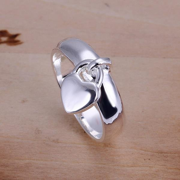 Wholesale New Creative Silver Plated Heart lock for Women ring wholesale jewelry SPR582 0