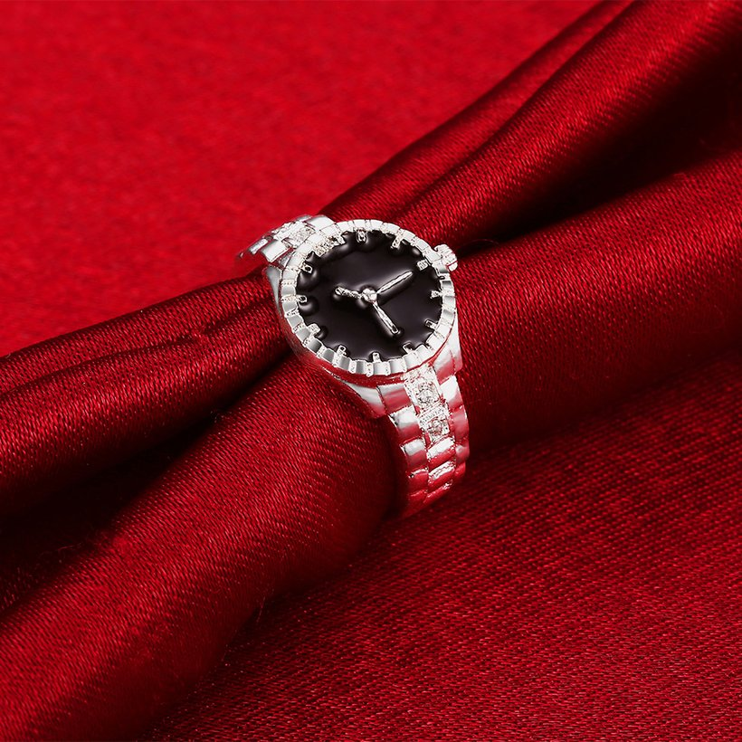 Wholesale Creative Watch shaped Fashion Ring Personality Lovers Ring Exquisite Jewelry Lovers Ring Hot Sale SPR610 2