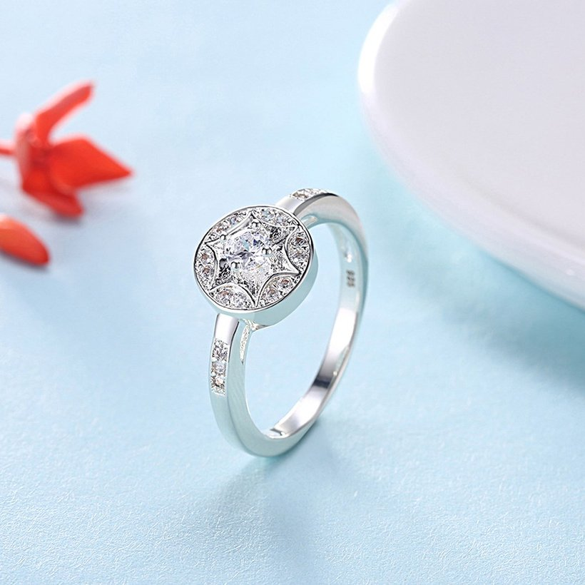 Wholesale Trendy luxury classic Silver Plated Round Zircon Ring Stainless Steel Round Wedding Bride Party Rings For Women Girls  SPR617 2