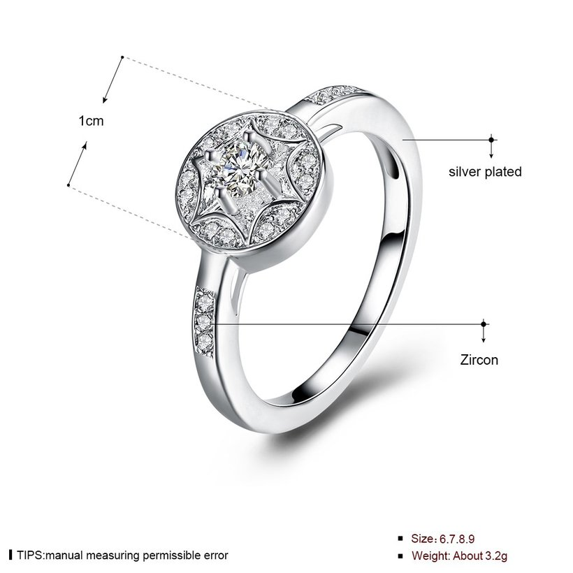 Wholesale Trendy luxury classic Silver Plated Round Zircon Ring Stainless Steel Round Wedding Bride Party Rings For Women Girls  SPR617 3