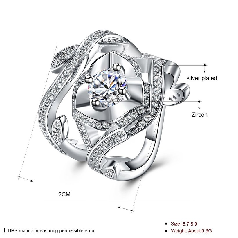 Wholesale Exquisite Design luxury fashion Silver Plated big rose flower Zircon Rings hight quality with CZ Cubic Zircon ring Suit party SPR621 3