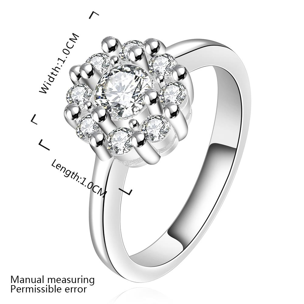 Wholesale Fashion jewelry from China Romantic Classical white Zircon Silver color Finger jewelry Promise Engagement party Rings for Women TGSPR618 0