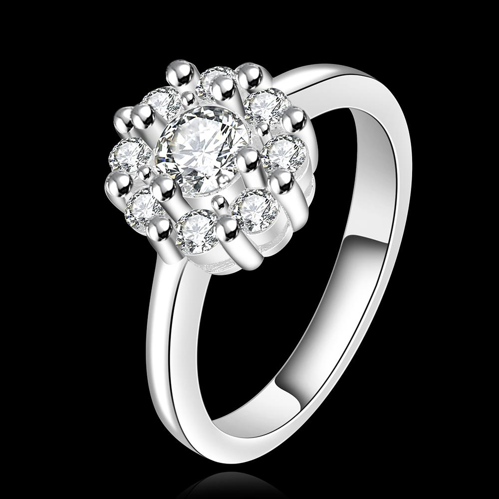 Wholesale Fashion jewelry from China Romantic Classical white Zircon Silver color Finger jewelry Promise Engagement party Rings for Women TGSPR618 1