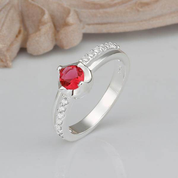 Wholesale Hot selling Red Zircon Stone Rings For Women Vintage Silver Color Engagement Ring  Bridal Wedding Jewelry TGSPR665 1