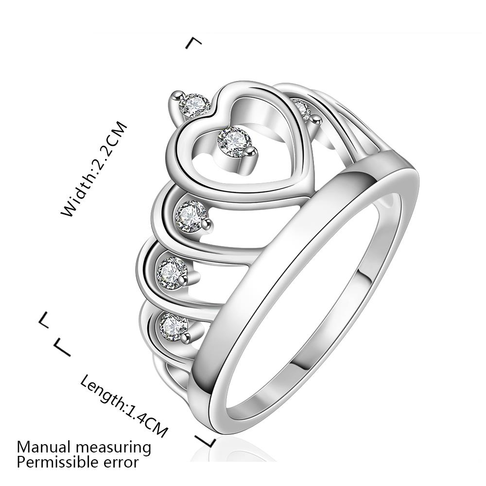 Wholesale Fashion Luxury Crystal Heart Rings Women's Crown Zircon Ring Jewelry Women's Engagement Party TGSPR033 1
