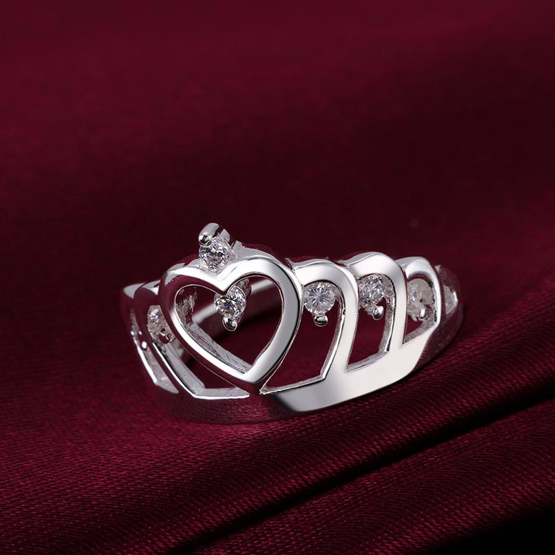 Wholesale Fashion Luxury Crystal Heart Rings Women's Crown Zircon Ring Jewelry Women's Engagement Party TGSPR033 3