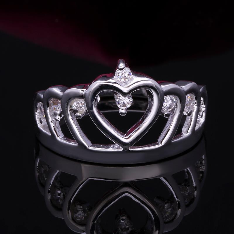 Wholesale Fashion Luxury Crystal Heart Rings Women's Crown Zircon Ring Jewelry Women's Engagement Party TGSPR033 5