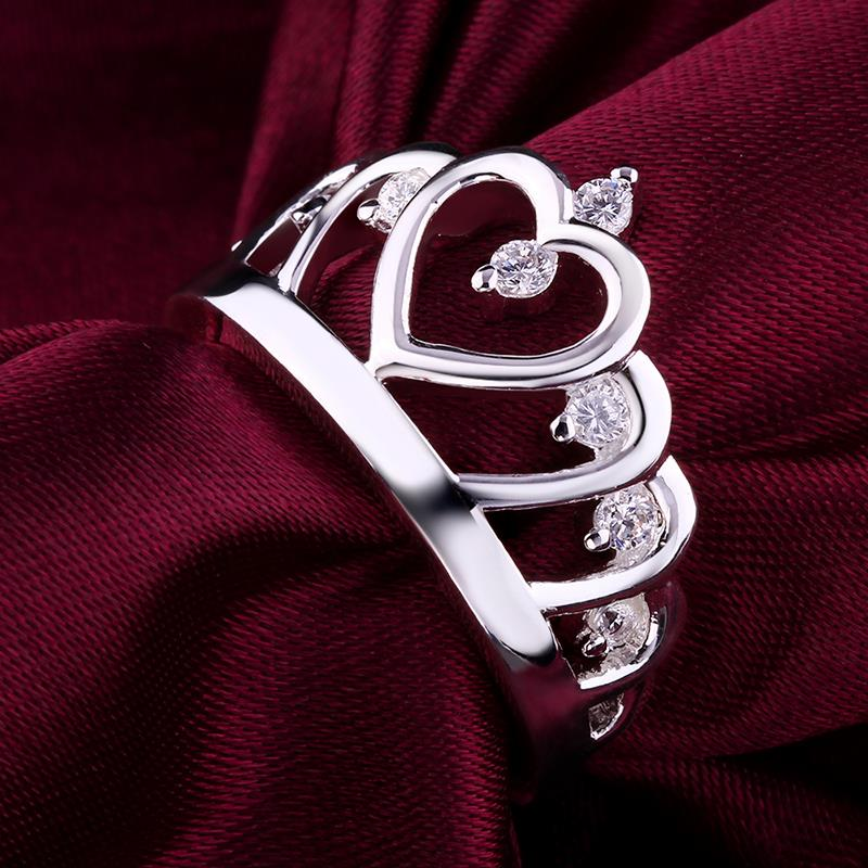 Wholesale Fashion Luxury Crystal Heart Rings Women's Crown Zircon Ring Jewelry Women's Engagement Party TGSPR033 7