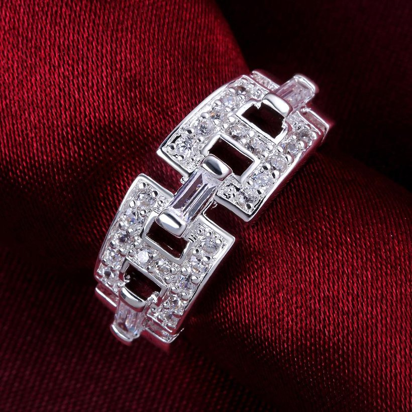 Wholesale Geometric the letter H Shape Silver Rings Jewelry Hollow Out Crystals Zircon Fine Ring For Women Girl Party Gift TGSPR168 1
