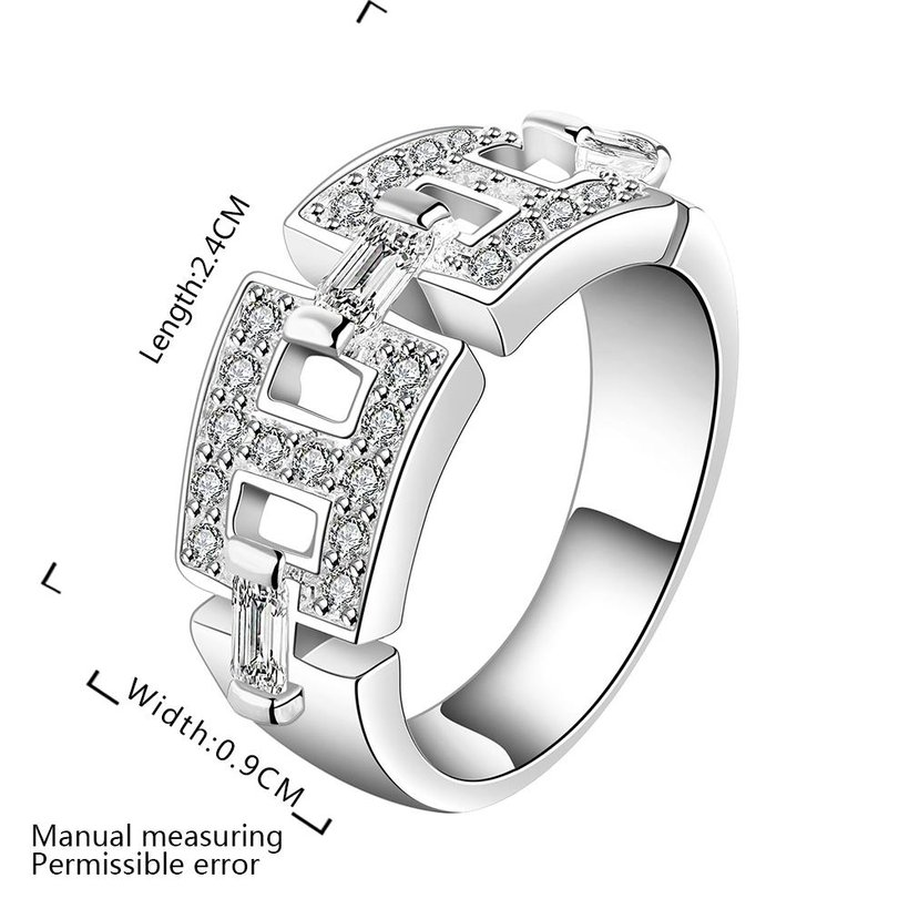 Wholesale Geometric the letter H Shape Silver Rings Jewelry Hollow Out Crystals Zircon Fine Ring For Women Girl Party Gift TGSPR168 3
