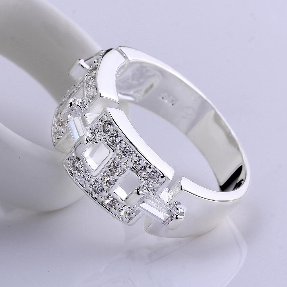 Wholesale Geometric the letter H Shape Silver Rings Jewelry Hollow Out Crystals Zircon Fine Ring For Women Girl Party Gift TGSPR168 4