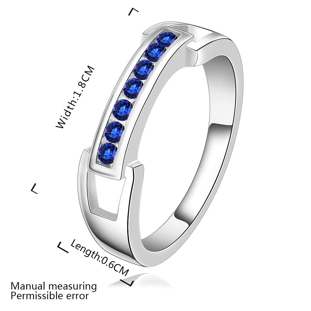 Wholesale Romantic Silver Ring Wedding Bands Jewelry Blue Cubic Zircon Crystal Ring For Women Engagement jewelry TGSPR271 0