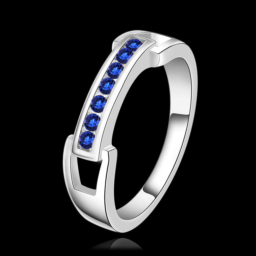 Wholesale Romantic Silver Ring Wedding Bands Jewelry Blue Cubic Zircon Crystal Ring For Women Engagement jewelry TGSPR271 1