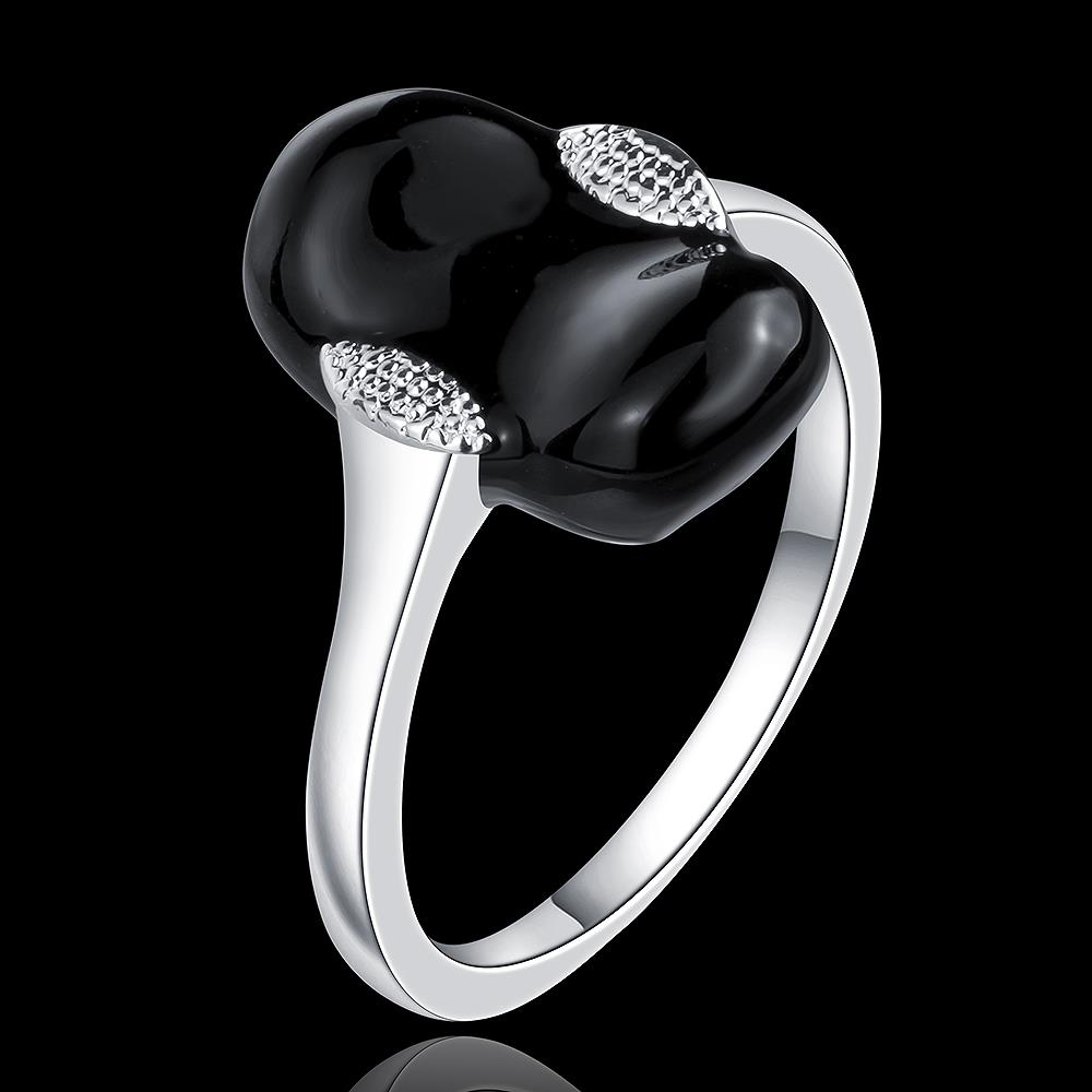 Wholesale Punk Style Personality Exaggeration European Lovers' Black White Color Oiled Geometric Ring Jewelry TGSPR686 0