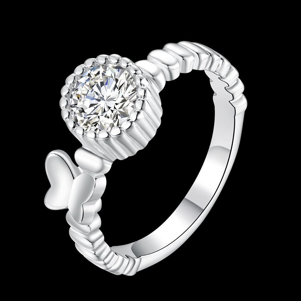 Wholesale jewelry Wedding Rings For Women Classic Silver Round White CZ Ring Bijoux Fashion Fine Anniversary Jewelry Gifts TGSPR022 0