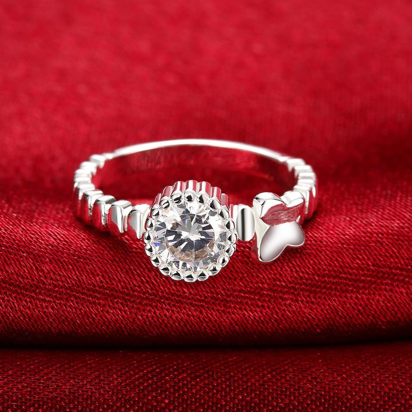 Wholesale jewelry Wedding Rings For Women Classic Silver Round White CZ Ring Bijoux Fashion Fine Anniversary Jewelry Gifts TGSPR022 1
