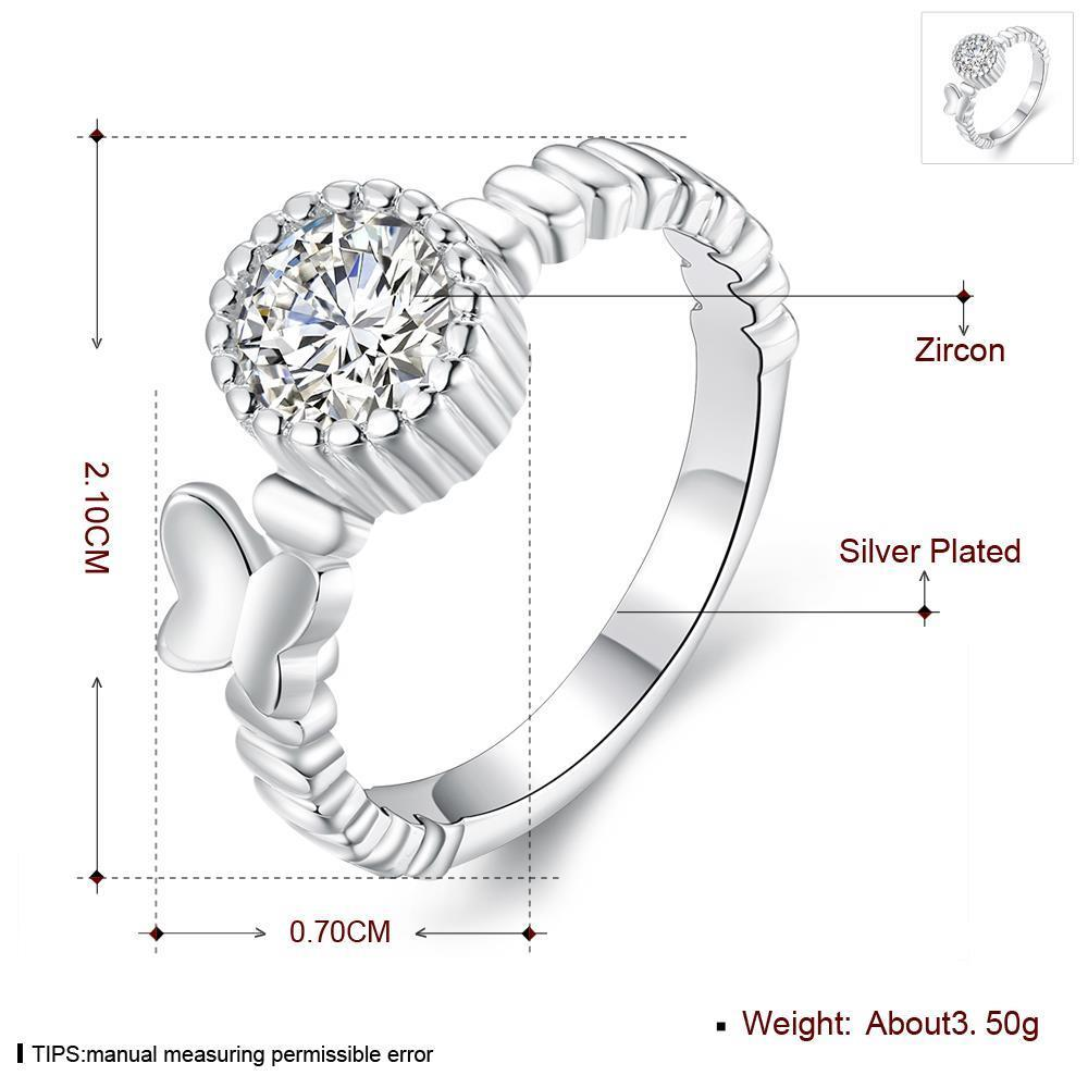 Wholesale jewelry Wedding Rings For Women Classic Silver Round White CZ Ring Bijoux Fashion Fine Anniversary Jewelry Gifts TGSPR022 4