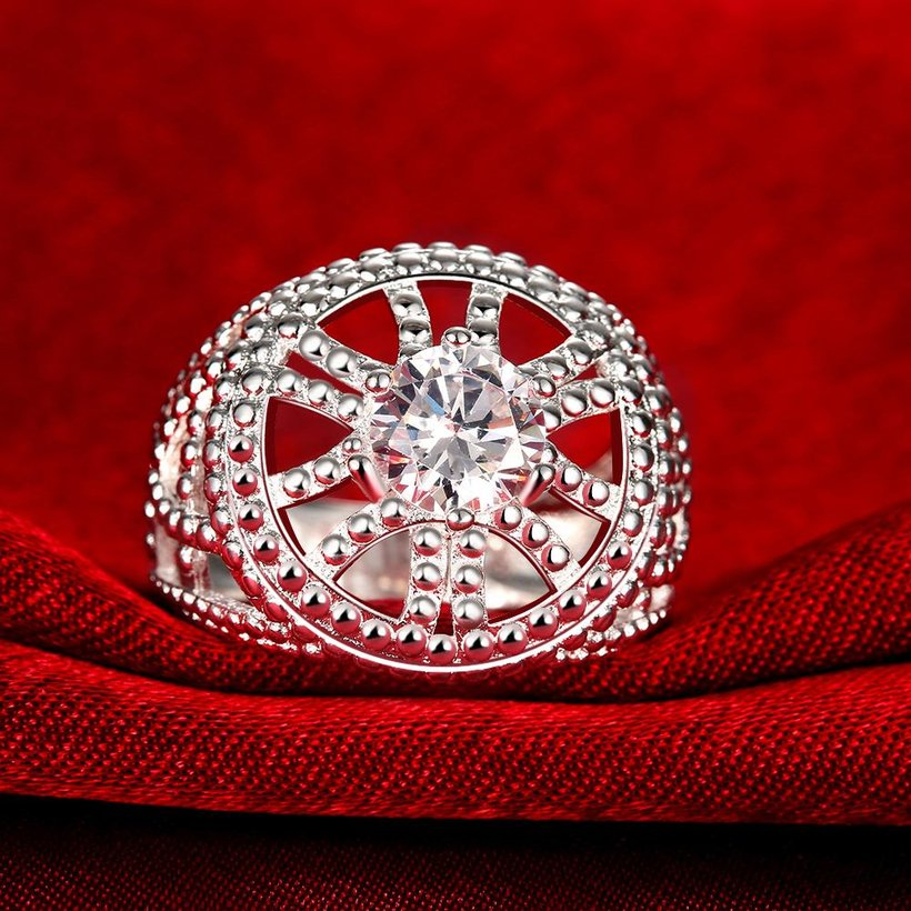 Wholesale rings from China for Lady Promotion Shiny white Zircon Openwork Multicolor Banquet Holiday Party Christmas Ring TGSPR140 1