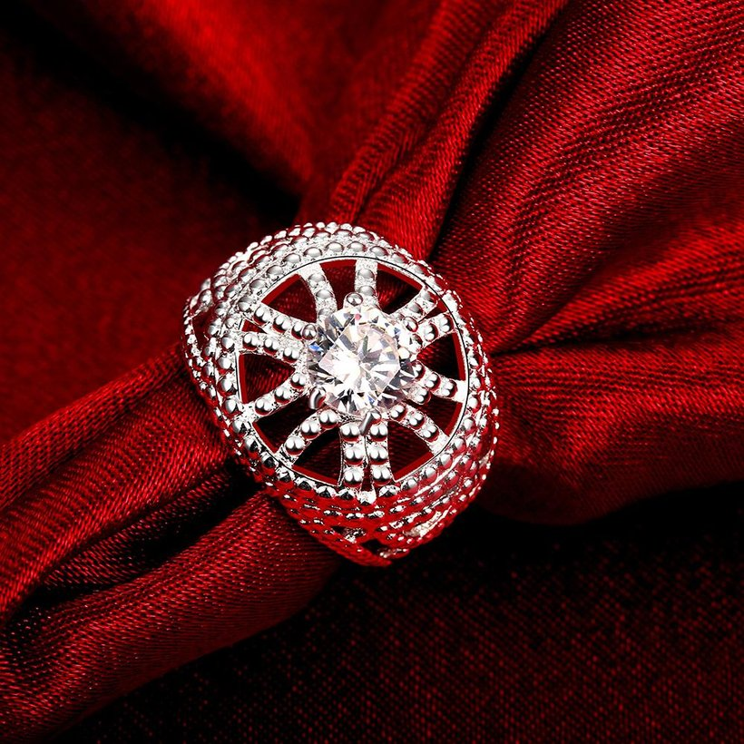 Wholesale rings from China for Lady Promotion Shiny white Zircon Openwork Multicolor Banquet Holiday Party Christmas Ring TGSPR140 4