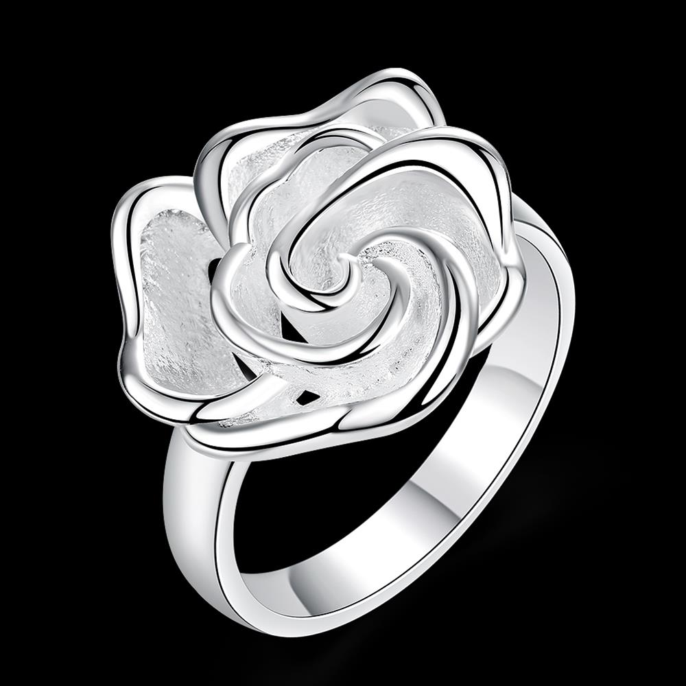 Wholesale rings from China European style Fashion Woman Girl Party Wedding Gift Silver Rose Silver Ring TGSPR209 0