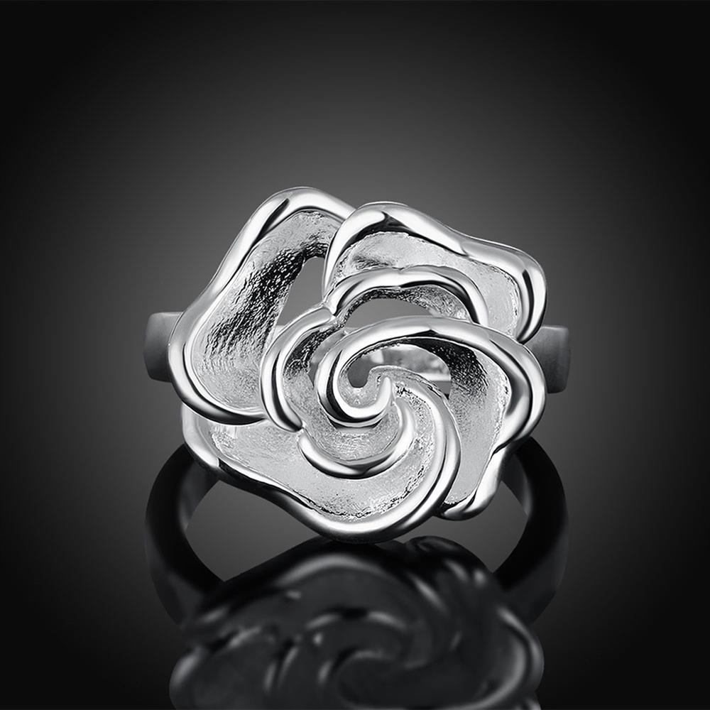 Wholesale rings from China European style Fashion Woman Girl Party Wedding Gift Silver Rose Silver Ring TGSPR209 2
