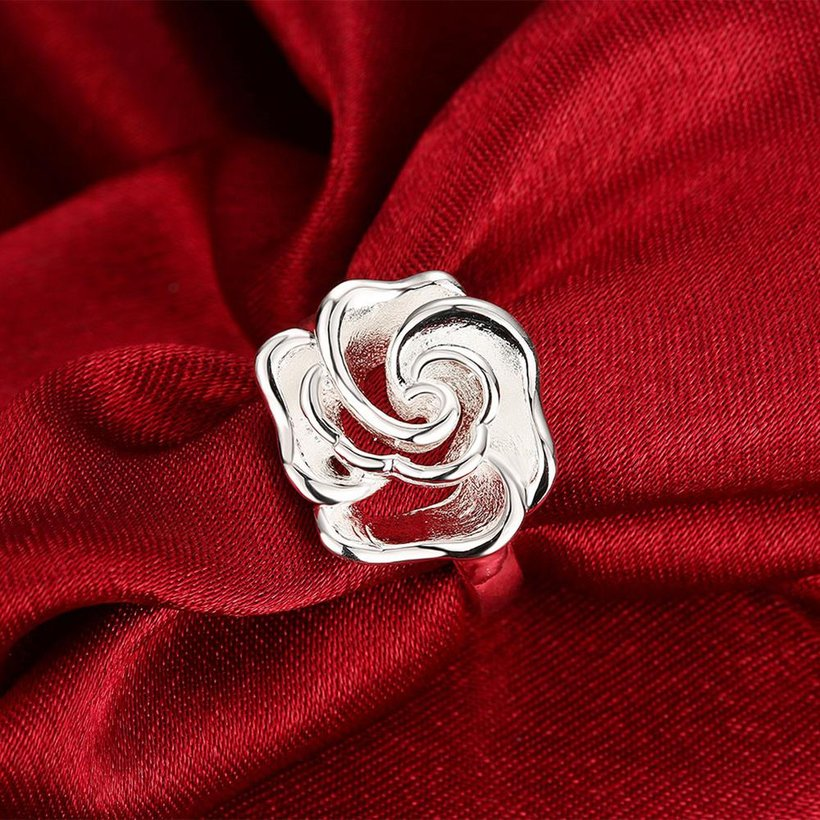 Wholesale rings from China European style Fashion Woman Girl Party Wedding Gift Silver Rose Silver Ring TGSPR209 3