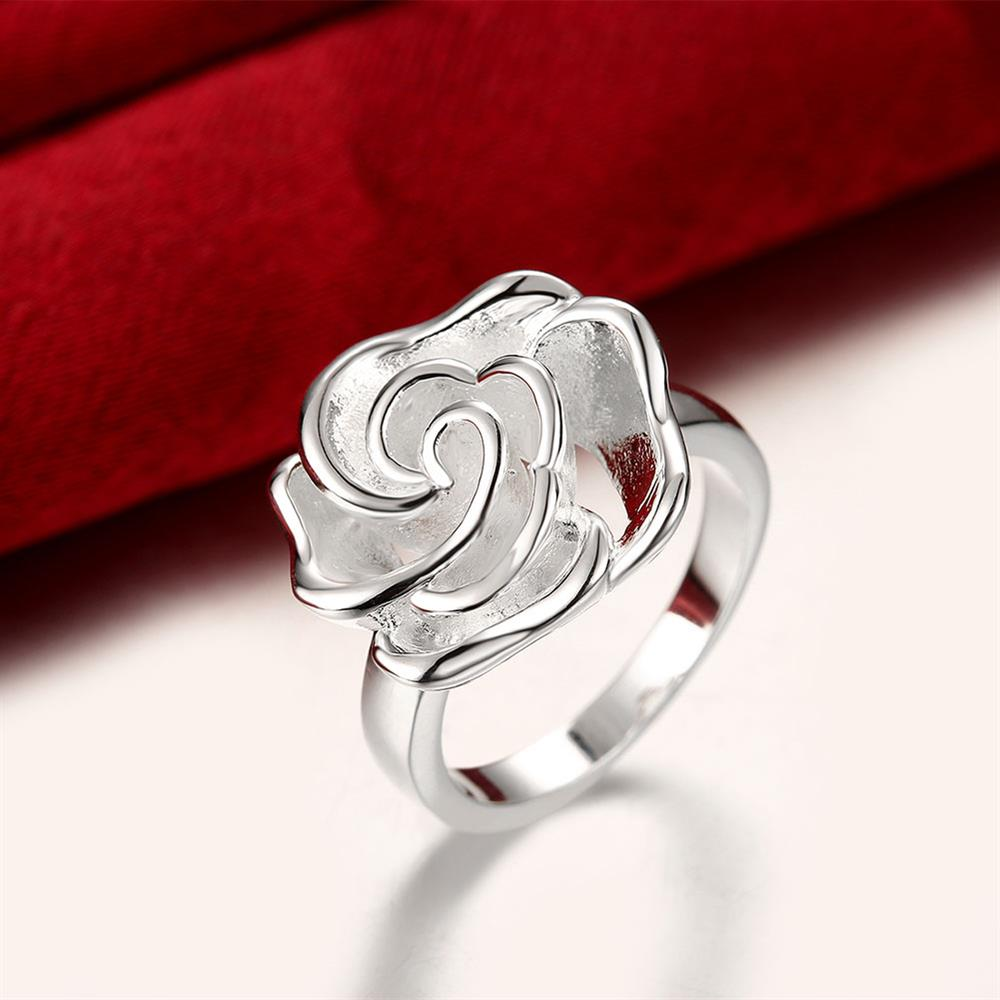 Wholesale rings from China European style Fashion Woman Girl Party Wedding Gift Silver Rose Silver Ring TGSPR209 4