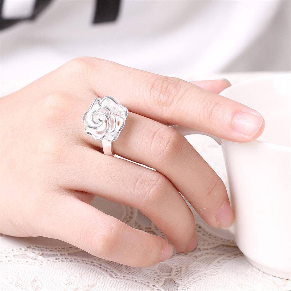 Wholesale rings from China European style Fashion Woman Girl Party Wedding Gift Silver Rose Silver Ring TGSPR209 5