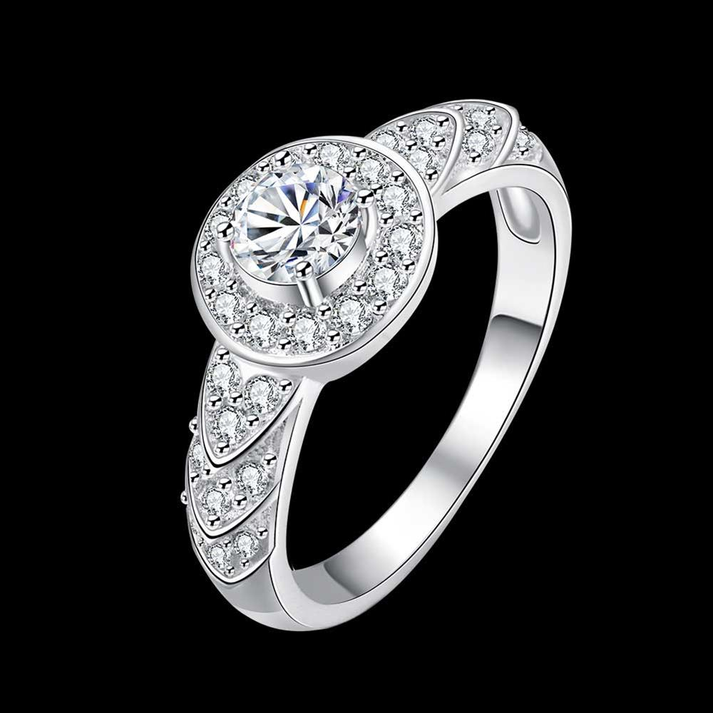 Wholesale Trendy Silver rings from China Shiny white rings Banquet Holiday Party wedding jewelry TGSPR248 0