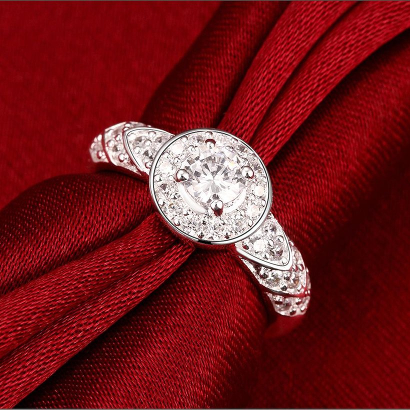 Wholesale Trendy Silver rings from China Shiny white rings Banquet Holiday Party wedding jewelry TGSPR248 3