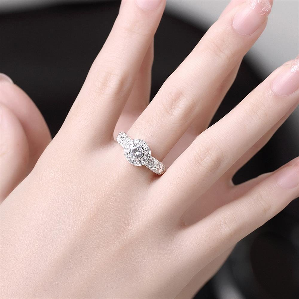 Wholesale Trendy Silver rings from China Shiny white rings Banquet Holiday Party wedding jewelry TGSPR248 4