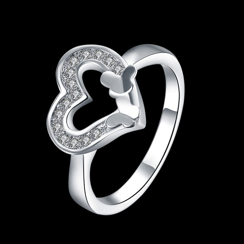 Wholesale New Design Fashion silver plated Heart Shape Classic Love Ring 5A Zircon Finger Rings For Women Engagement Jewelry TGSPR429 0
