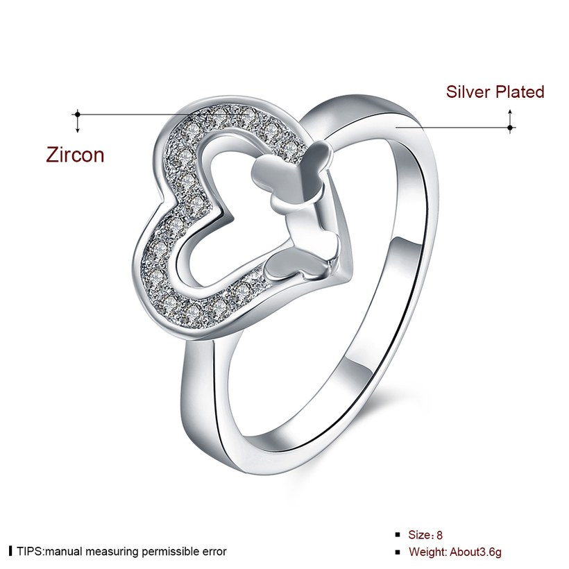 Wholesale New Design Fashion silver plated Heart Shape Classic Love Ring 5A Zircon Finger Rings For Women Engagement Jewelry TGSPR429 1